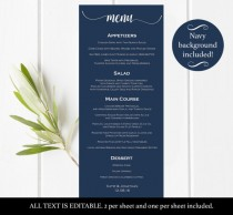 wedding photo - Printable Wedding Menu - DIY Navy Menu - Editable Menu - Navy wedding menu - Wedding Menu - PDF instant download wedding menu #DPI1286