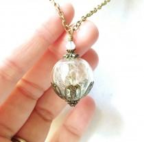wedding photo - Dandelion Seed Glass Orb Terrarium Necklace with an Opalescent Crystal, Small Orb In Bronze, Bridesmaid Gifts, Make A Wish Necklace