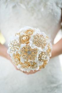 wedding photo - Custom Gold Brooch Bouquet - Bridal Bouquet, Wedding Bouquet, Jeweled Bouquet, Silk Flower Bouquet, Bridesmaids bouquet - 7 inch Bouquet