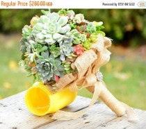 wedding photo - 1DAYSALE Live Succulent Bouquet Bridal Bridesmaid with Burlap and Brooch- Replant
