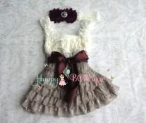 wedding photo - Girl' holiday dress-Ivory Grey Dark Plum Lace Dress set,baby girls dress,Girl 1st Birthday dress, Girl's Rustic Cuntry Dress,Christmas dress