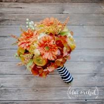 wedding photo - Fall Wedding Bouquet - Yellow and Orange Bouquet, Silk Wedding Bouquet, Yellow, Orange, Fall, Autumn, Daisies, Marigold