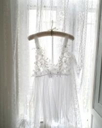wedding photo - Bridal Wedding Lace Embroidery NightGown Angel Sheer See Though Slip Dress Night gown ,Sexy Lingerie Wedding Lingerie Sleepwear Honeymoon