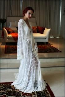 wedding photo - Embroidered Lace Bridal Robe French Lace Wedding Robe Bridal Lingerie Wedding Sleepwear Art Deco Lace Robe Wedding Trousseau Honeymoon Robe