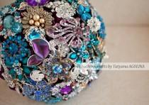 wedding photo - Brooch bouquet. Purple, Teal and Gold wedding brooch bouquet, Jeweled Bouquet. Made upon request