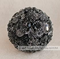 wedding photo - Brooch bouquet. Black and Silver wedding brooch bouquet, Jeweled Bouquet. Made upon request