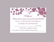 wedding photo - DIY Wedding RSVP Template Editable Word File Instant Download Rsvp Template Printable RSVP Cards Floral Eggplant Rsvp Card Elegant Rsvp Card