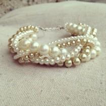 wedding photo - Braided cuff, ivory pearl bracelet, bridesmaids bracelet, ivory bracelet, pearl bracelet, statement bracelet, elegant bracelet, ivory gold