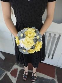 wedding photo - Wedding Peony Paper Flower Bridal Bouquet - Wedding Paper Rose Peony Carnation Daisy Susan