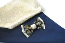 wedding photo - wedding bowtie gold brocade navy blue bow tie with gold embroidery el oro brocado azul marino corbata azul arco bleu marine arc bleu cravate