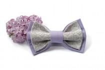 wedding photo - lilac grey bow tie groomsmen bow ties groom tie lavender wedding necktie gift for men birthday gift men's bowtie for boys kids ties kinkan