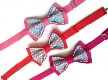 wedding photo - wedding gift set of 3 chevron bow ties pink bow tie coral bowtie hot pink tie groom bride salmon necktie daddy and sons bowties binda fast