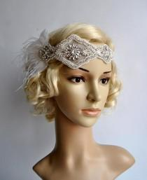 wedding photo - Rhinestone pearls feather flapper Gatsby Headband,Wedding Headband,Crystal Headband,Wedding Headpiece,Bridal Headpiece,1920 Flapper headband