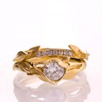 wedding photo - Leaves Engagement Set - 14K Gold and Diamond engagement ring, engagement ring, leaf ring, wedding set, engagement set, leaf rings set,