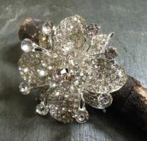 wedding photo - Silver Clear Rhinestone Brooch Flatback Embellishment or Pin Large Rhinestone Crystal Flower Broach for Wedding Brooch Bouquet Sash DIY sc6