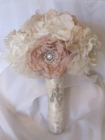 wedding photo - Wedding Bouquet Vintage Inspired Fabric Brooch Bouquet  In Ivory and Champagne with Pearls Rhinestones and Lace Custom Made to Your Colors