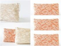 wedding photo - Be My Bridesmaid Set, Bridesmaids Lace Clutches, Peach and Silver Purses for Bridesmaids, Personalized Bridesmaid Bags