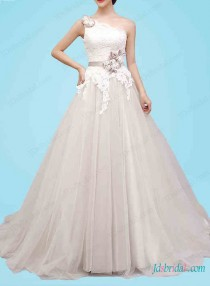 Stunning Colored One Shoulder Pirncess Ball Gown Wedding DressIvory Lace Overlay Bodice With Strapdetachable Handmade Flower Sash Come