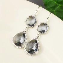 wedding photo - Charcoal Gray Earrings - Silver Grey Glass Drop Earrings - Gray Bridesmaid Earrings - Wedding Jewelry - Bridesmaid Jewelry