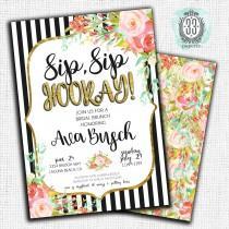 wedding photo - Black/White Striped Bridal Shower Invitation - Digital or Printed Cards