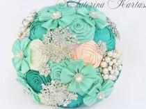 wedding photo - Wedding Brooch Bouquet, mint and peach color. Bridal Brooch Bouquet. Handmade Bridal Bouquet