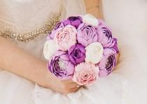 wedding photo - Wedding brooch bouquet, Handmade, Fabric Bridal Bouquet,peonies, purple, pink, ivory