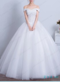 Fairytale Dreamy Princess Tulle Bridal Wedding Ball Gownportrait Off Shoulder Neckline With Illusion Boned Lace Overlay BodiceDroped Waistlinelayered
