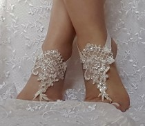 wedding photo - ivory lace silver frame sequin flake lace barefoot sandal beach wedding barefoot sandal bridal barefoot sandals