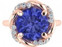wedding photo - Engagement Ring, Tanzanite Rose Gold Ring, Wedding Diamond Rings, Custom Made Natural Tanzanite Ring, Copyrighted Design by Bridal Rings