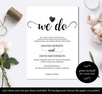 wedding photo - Black and White We Do Wedding Invitation Template - Minimalist black and white We Do Wedding Invitations PDF Instant Download