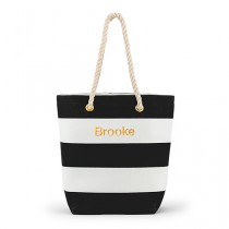 wedding photo - Bliss Striped Tote - Black And White, personalized  Bride bag, bridesmaid, accessrites
