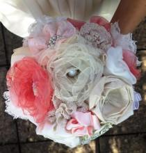 """wedding photo - 8"""" Shabby Chic Bridal Bouquet ~ Ivory and Dusty Pink Fabric Flower Bouquet ~ with brooch, pearl and bead decor"""