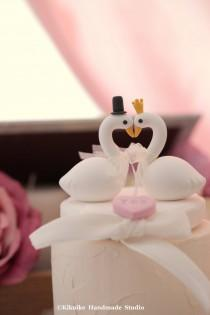wedding photo - love Swan wedding cake topper  (K358)