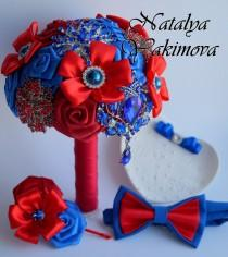 wedding photo - Brooch Bouquet, Bridal Bouquet, Wedding Bouquet, Fabric Bouquet, Unique Wedding Bridal Bouquet, Red and Blue