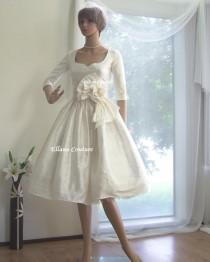wedding photo - Plus SIze. Marianne - Vintage Inspired Wedding Dress with 3/4 sleeves. Tea Length. Gorgeous Dupioni SILK.