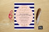 wedding photo - Nautical Wedding Invitation, Navy Stripes, Anchor Invite - beach wedding invite, navy striped invite, gold script, gold leaf, blush