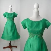 wedding photo - 1950 Vintage Dress, Green Vintage Dress, 1950s Green Dress, Green Bridesmaid Dress, Retro 50s Dress, Green Party  Dress, 50s Party Dress