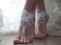 wedding photo - Free Ship ivory barefoot beach wedding anklet bellydance beach pool country wedding sexy feet bridesmad weddingday