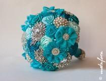 wedding photo - SALE!!! Brooch bouquet, turquoise Fabric Wedding Bouquet, Unique Fabric Flower Bridal Bouquet