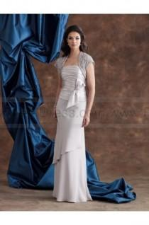 wedding photo - Sheath/Column Floor-length Strapless Chiffon Silver Mother of the Bride Dress