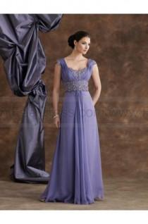 wedding photo - A-line Floor-length V-neck Chiffon Purple Mother of the Bride Dress