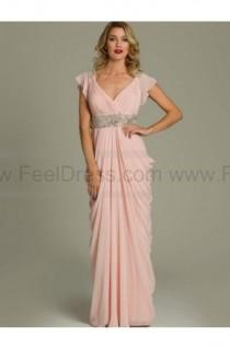 wedding photo - Sheath/Column V-neck Floor-length Chiffon Mother of the Bride Dress