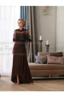 wedding photo - A-line Floor-length Sweetheart Chiffon Brown Mother of the Bride Dress