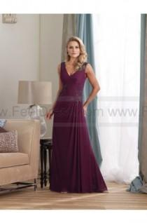 wedding photo - Sheath/Column Floor-length V-neck Chiffon Burgundy Mother of the Bride Dress