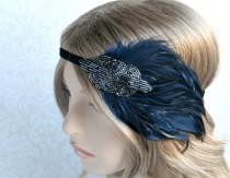 wedding photo - 20s Headpiece, Daisy Buchanan Gatsby Headpiece, Gray Pewter Great Gatsby Beaded Headband, Art Deco Blue Feather Headband
