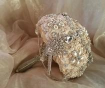 wedding photo - Champagne Brooch Bouquet , Ivory and Silver Brooch Bouquet, Ivory Jeweled Bouquet, Brooch Bouquet, Champagne Brooch Bouquet, Deposit Only