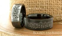 wedding photo - Music Wedding Ring Tungsten Wedding Band Your Wedding Song Ring 7mm 9mm Black Anniversary Ring Promise Ring Custom Laser Engraved Ring Set