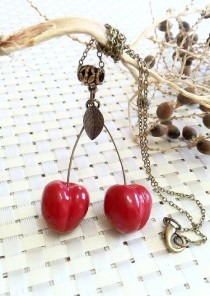 wedding photo - Cherry Necklace, Rockabilly Jewelry, Rockabilly Style, Red Cherry Jewelry, Kitsch Necklace,