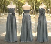 wedding photo - Sweetheart Grey Long Bridesmaid Dress Handmade Pleat Flower Gray Prom Dress Long Grey Dresses For Wedding