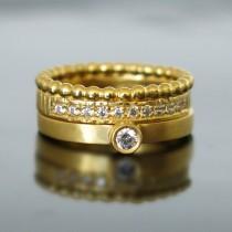 wedding photo - Engagement ring gold, Women wedding ring, Engagement set, Yellow gold bridal set, Diamond wedding set, Gold Diamond rings, Wedding set ring